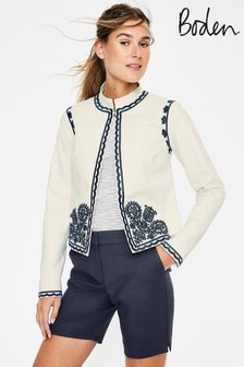 Boden White Lisbon Embroidered Jacket