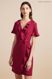 French Connection Dark Pink Stretch Frill Dress