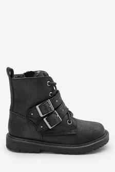 Байкерские ботинки на шнуровке (Младшего возраста)