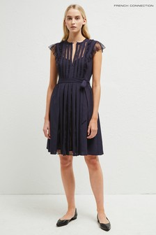French Connection Blue Eva Light Solid Belted Dress