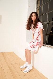 Floral Print Button Through Dress (3-16yrs)