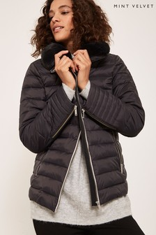 Mint Velvet Grey Faux Fur Collar Padded Jacket