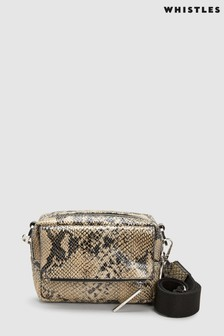 Whistles Black Snake Print Bibi Cross Body Bag