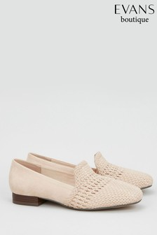 Evans Taupe Extra Wide Fit Weave Loafer
