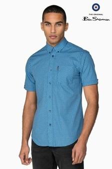 Ben Sherman Blue Short Sleeve Gingham Shirt
