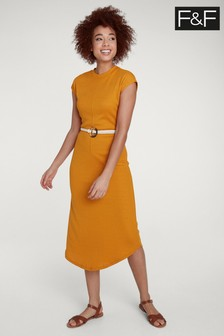 فستان متوسط الطول أصفر بحزام من F&F