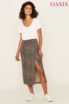 Oasis Animal Column Print Skirt