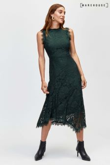 Warehouse Dark Green Lace Midi Dress