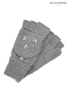 Accessorize Grey Embellished Capped Glove