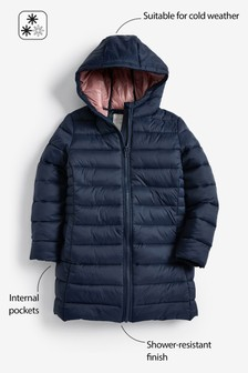 Shower Resistant Long Narrow Channel Padded Jacket (3-16yrs)
