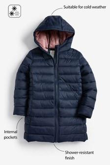 Утепленная удлиненная куртка из непромокаемой ткани (3-16 лет)