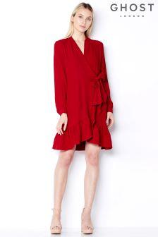 Ghost London Chilli Red Zoey Satin Back Wrap Ruffle Dress