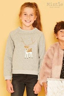 Mintie by Mint Velvet Grey Reindeer Motif Sweatshirt