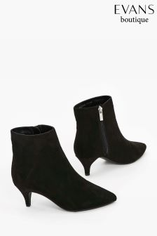 Evans Black Extra Wide Fit Kitten Heel Ankle Boot