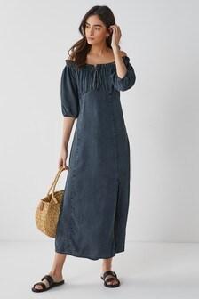Tencel™ Puff Sleeve Dress