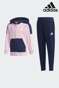 adidas Gym Pink/Navy Fitted Tracksuit