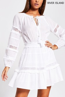 River Island White Lace Insert Smock Beach Dress