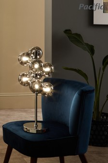 Pacific Black Vecchio Glass Orb And Chrome Table Lamp