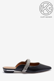 Kurt Geiger London Black Princely Diamanté Strap Point Flats