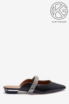 Kurt Geiger London Black Princely Diamanté Strap Point Flats