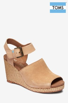 TOMS Honey Tropez Suede And Leather Wedge