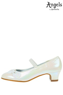 Angels By Accessorize White Glitter Bow Flamenco Shoes