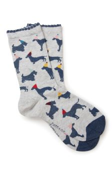 FatFace Grey Party Dogs Socks