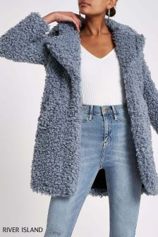 River Island Blue Teddy Bear Coat