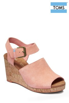 TOMS Coral Tropez Suede And Leather Wedge