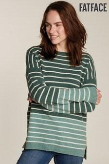 FatFace Green Megan Stripe Jumper