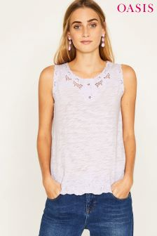 Oasis Purple Broderie Trim Shell Top