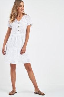 V-Neck Button Smock Dress