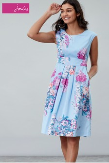 Joules Blue Katalina Fit And Flare Dress