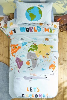 Animal World Map Duvet Cover and Pillowcase Set