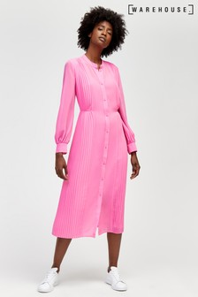 Warehouse Pink Pleated Shirt Dress