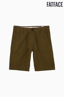 FatFace Green Linen And Cotton Flat Front Short