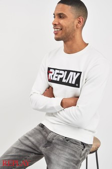 Replay® White Archive Logo Sweat
