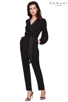 Damsel In A Dress Black Lucinda Tux Jumpsuit