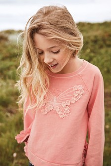 Butterfly Floral Embroidered Crew (3-16yrs)