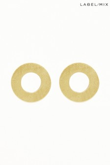 Mix/Wolf & Moon Disc Stud Earrings