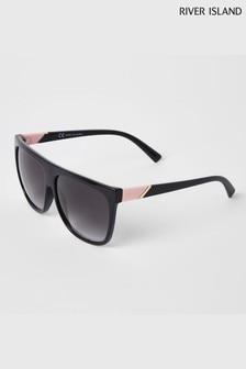 River Island Black Kimmylee Black Lens Visor Sunglasses