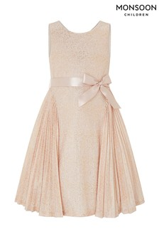 Monsoon Gold Gilded Rose Pleat Dress