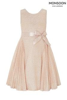 Золотистое плиссированное платье с позолоченными розами Monsoon