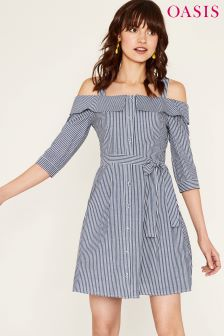 Oasis Blue Stripe Cold Shoulder Shirt Dress