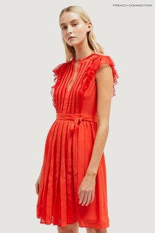 French Connection Red Eva Light Solid Belted Dress