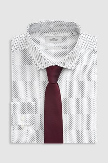 Regular Fit Single Cuff Printed Shirt With Tie Set