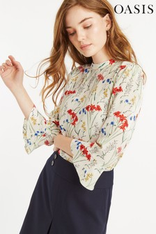 Oasis Natural Flower Flute Sleeve Top