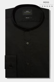 Moss London Skinny Fit Black Grandad Collar Stretch Shirt