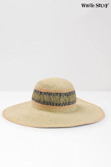 White Stuff Natural Multi Stripe Wide Brim Hat