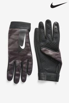 Nike Academy Kids Black Camo HyperWarm Football Gloves